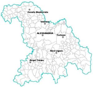 The province of Alessandria, within Piedmont (Piemonte)